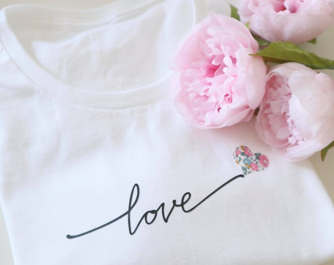 Love Tshirt, featuring a Liberty of London Heart in a fabric of your choice
