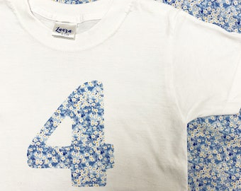 Children's Liberty of London Age Number Tshirt. Available in a range of Liberty Tana Lawn Fabrics.