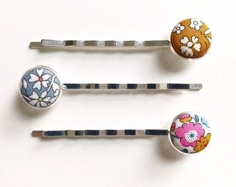 Liberty of London, Set of 3 Bobby Pins.  Handmade using a Liberty fabric of your choice.