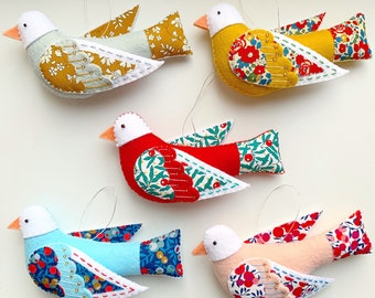 Handmade Liberty of London Embellished Bird Christmas Tree Ornaments, with embroidery