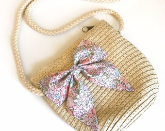 Straw Style Cross Body Bag for Girls, with Liberty of London Bow