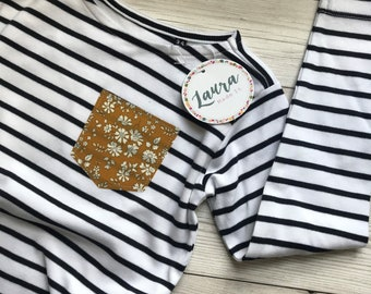 Children's Long Sleeve Breton Striped Tshirt with Liberty of London pocket in a fabric of your choice