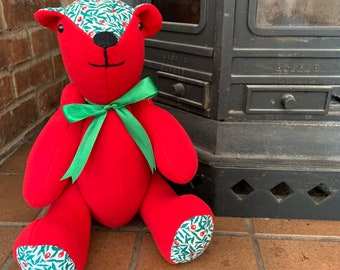 Handmade Liberty of London Christmas Teddy Bear