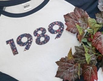 Navy Baseball Style Year of Birth Long Sleeve Tshirt