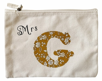 Personalised Thank you Teacher Gift. Mrs/Miss Pouch with a Liberty of London Initial.