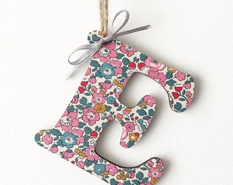 Personalised Liberty of London Hanging Wooden Letter