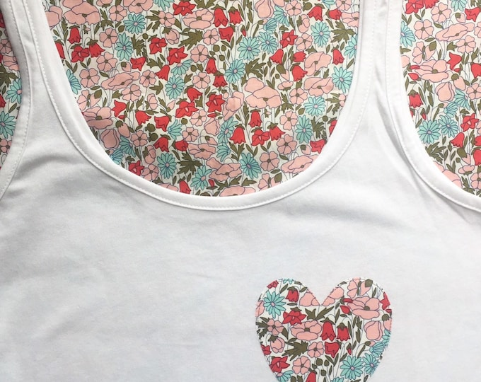 Vest Top in Slouch Style, Featuring Liberty of London Heart Detail