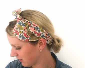 Adult Elasticated Headband with adjustable bow, handmade using a Liberty of London fabric of your choice.