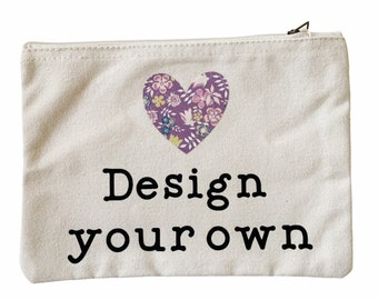 DESIGN YOUR OWN Teacher Pouch with a Liberty of London Heart. Personalised Thank you Teacher Gift.