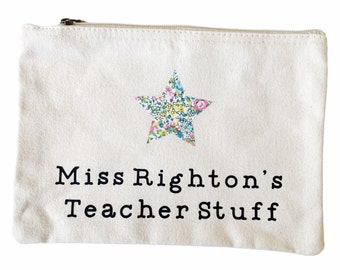 Personalised Thank you Teacher Gift. Teacher Stuff Pouch with a Liberty of London Star