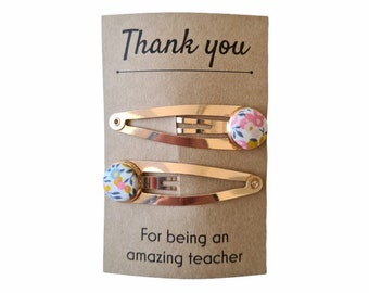 Thank you Teacher Gift. Set of 2 Liberty of London Button Style Silver Snap Clips