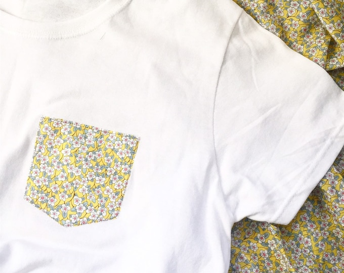 Women's Tshirt with Liberty of London Pocket. In a fabric of your choice