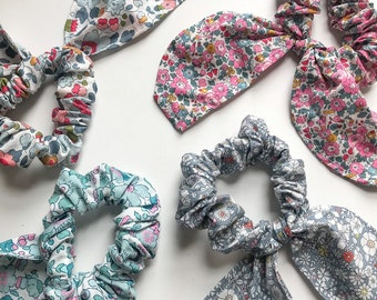 Liberty of London Bunny Style Scrunchie. Choose from a range of fabrics