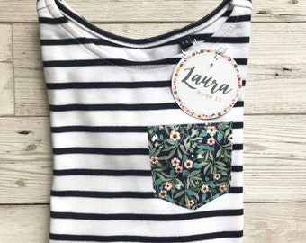 Children's Short Sleeve Breton Striped Tshirt with Liberty of London Pocket in a Fabric of Your Choice