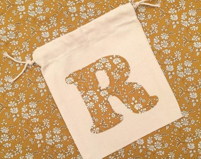 Medium Liberty of London Initial Toy Bag. Handsewn using Liberty Tana Lawn Fabric.