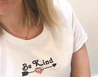 Be Kind Tshirt, featuring a heart in a Liberty fabric of your choice.