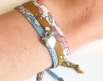 Liberty of London Adjustable Bracelet, available in various Liberty fabrics with the option of a heart pendant