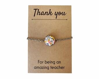 Thank you Teacher Gift. Liberty of London Button Pendant Bracelet