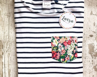 Long Sleeve Breton Striped Tshirt with Liberty of London Pocket in a Fabric of Your Choice