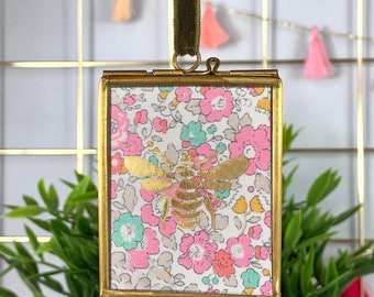 Small Liberty Print Bee Gold Frame, available in a range of fabrics