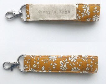 Liberty of London Fabric Key Fob, Choose from a range of Liberty Fabrics. Personalisation available.