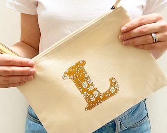 Liberty of London Personalised Canvas Pouch, available in Natural or Navy Colour