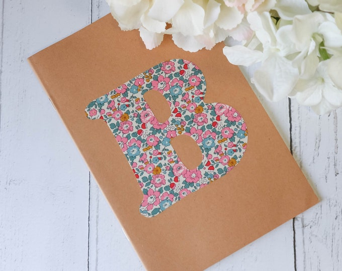 Personalised Kraft Notebook with Liberty of London Monogram Letter