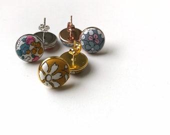 Liberty of London Stud Earrings. Handmade using Liberty Tana Lawn Fabric. Available in various fabrics