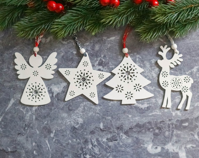 White Wooden Christmas Decorations with Liberty of London Cord