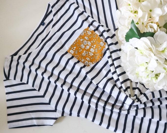 Breton Stripe Short Sleeve Tshirt with Liberty of London Pocket