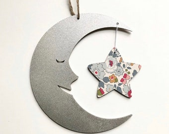 Moon and Star Wall Hanging with Star in a Liberty of London fabric of your choice