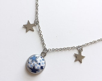 CLEARANCE Star Button Pendant Necklace in Liberty of London Adelajda Fabric