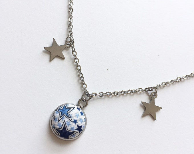 Star Button Pendant Necklace in Liberty of London Adelajda Fabric
