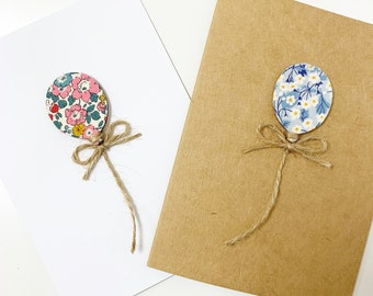 Balloon Birthday Greetings Card, with Wooden Liberty of London Balloon in a fabric of your choice.