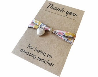 Thank you Teacher Gift. Liberty of London Adjustable Bracelet, available in various Liberty fabrics with the option of a heart pendant