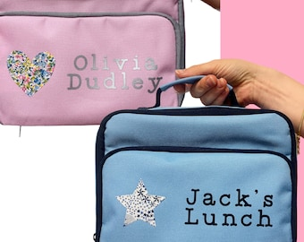Personalised Lunch Box with Liberty of London Heart or Star, School Lunch Bag