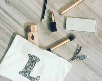 Liberty Initial Makeup Pouch in White