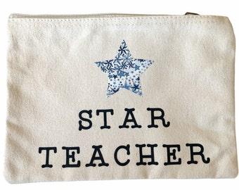 Star Teacher Pouch with a Liberty of London Star. Thank you Teacher Gift.