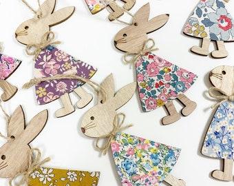 Liberty of London Hanging Rabbit Decoration. A wooden decoration, made from a Liberty fabric of your choice.