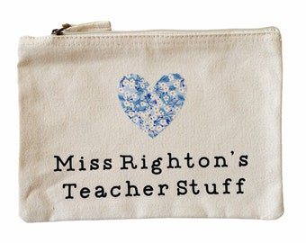 Personalised Thank you Teacher Gift. Teacher Stuff Pouch with a Liberty of London Heart