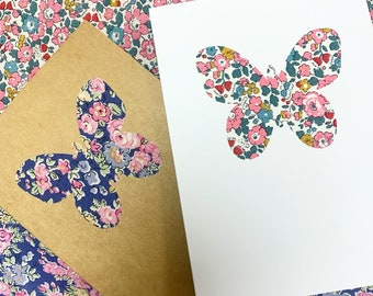 Butterfly Greetings Card, with Liberty of London Heart in a fabric of your choice.