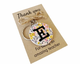 Personalised Thank you Teacher Gift. Liberty of London Wooden Key Ring with Letter Initial