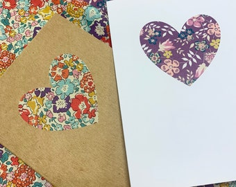 Heart Greetings Card, with Liberty of London Heart in a fabric of your choice.
