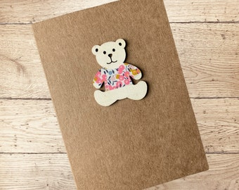 Teddy Card, with Liberty of London Jumper. New Baby Card