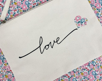Liberty of London 'Love' Storage Canvas Pouch, available in Natural or Navy Colour and a range of Liberty fabrics.
