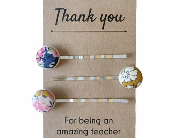 Thank you Teacher Gift. Liberty of London, Set of 3 Bobby Pins.  Handmade using a Liberty fabric of your choice.