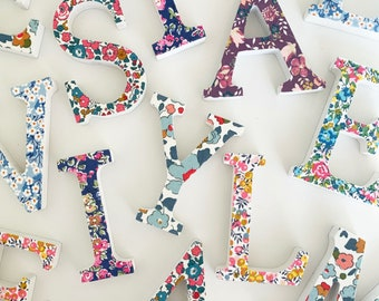 Liberty of London Wooden Letter. Can be displayed freestanding or on a door or wall. Personalised Name Plaque