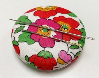 Magnetic Liberty of London Needle Minder. Handmade Needle Keeper in a Festive Liberty Tana Lawn fabric of your choice.
