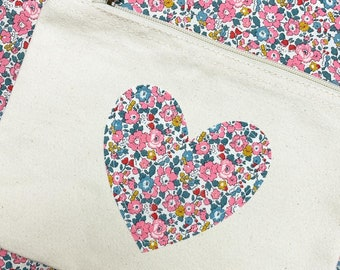 Liberty of London Heart Storage Canvas Pouch, available in Natural or Navy Colour and a range of Liberty fabrics.