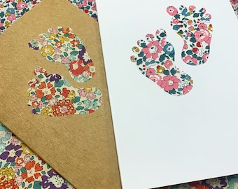New Baby Greetings Card, with Liberty of London Heart in a fabric of your choice.